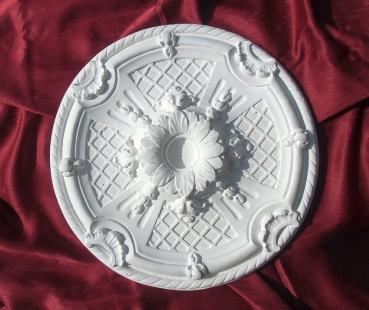 Round plaster ceiling rose with flower decorated as Zierlement