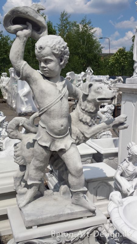 "Garden figure ""Trompeter with dog"" 145 cm big"