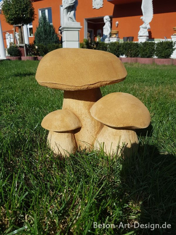 Cute mushroom group - garden decor of concrete