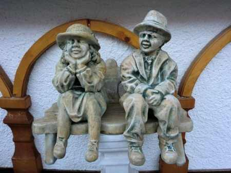 Grandma and Grandpa on Garden Bench - 3 Piece