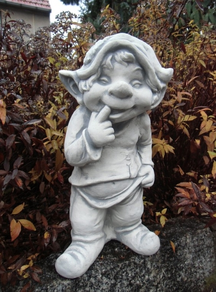 "cute garden gnome / elf ""finger in the mouth"" 39 cm"