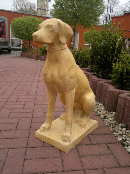 "Garden stone statue figure ""hunting dog"" ocher patina - white co"